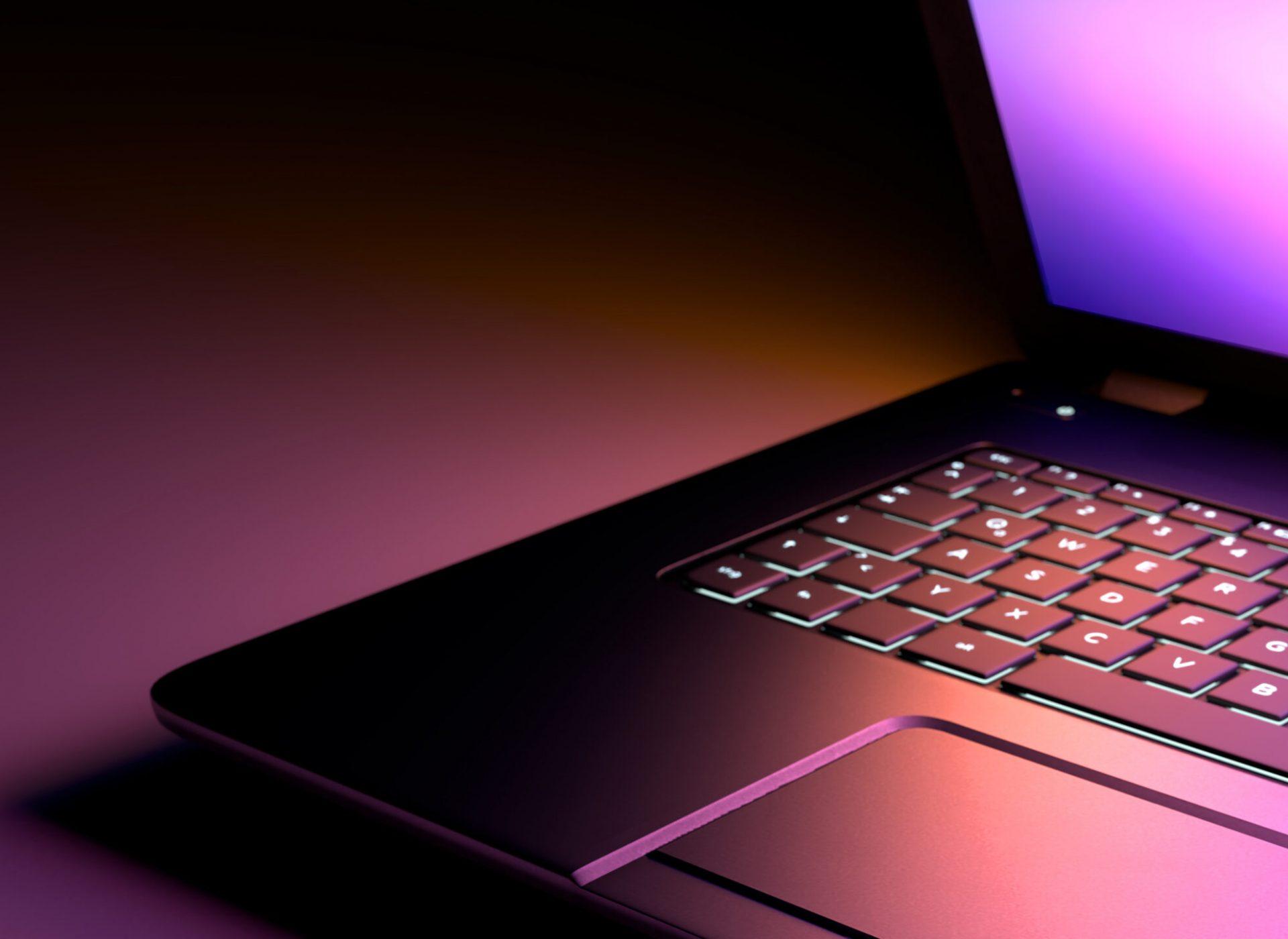 Close up Laptop 3D Illustration. Dark Background, Black Desk Laptop Computer with color pink purple Light display.
